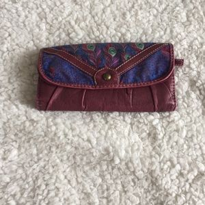 Maroon and Peacock Patterned Wallet